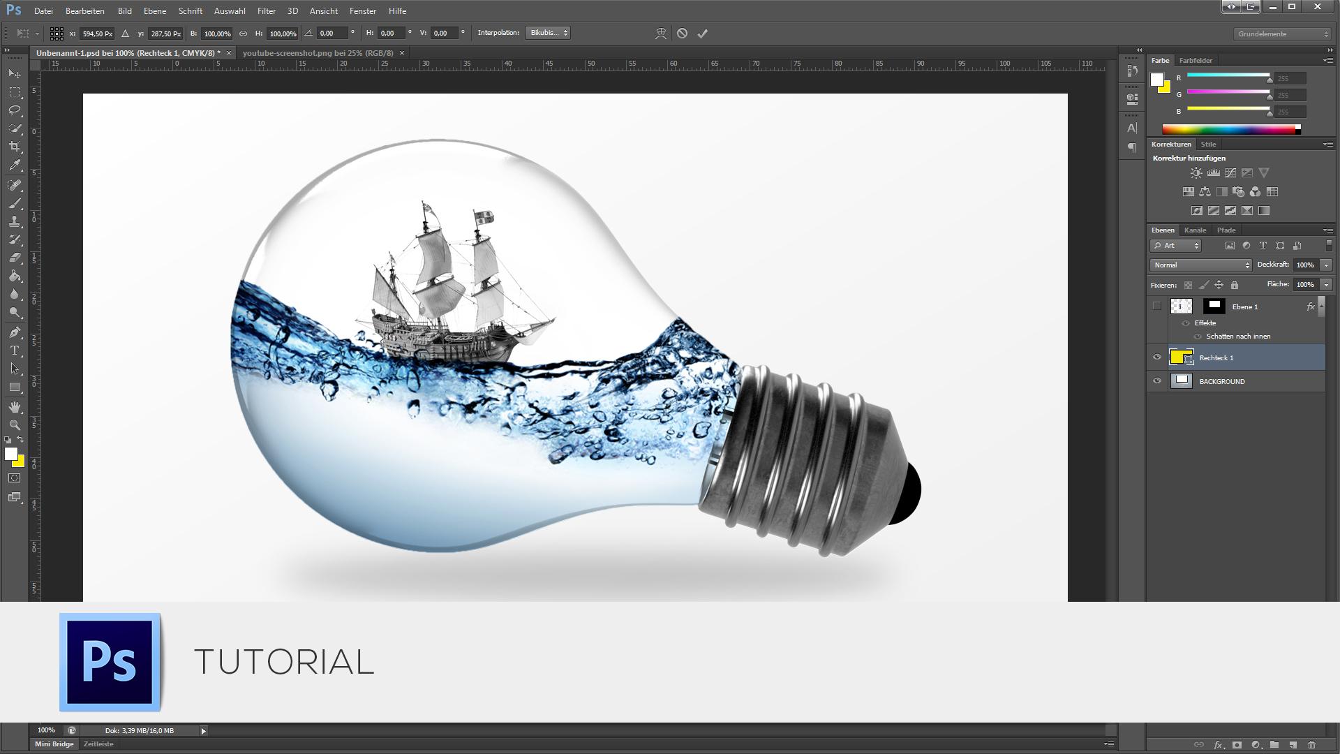 Photoshop Tutorial - Wasser und Schiff in einer Glühbirne